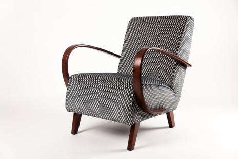 Chair H214 by famous Czech designer Jindrich Halabala - upholstery fabric Pepino Gunmetal