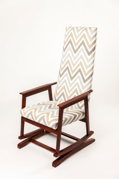 Upholstered rocking-chair - upholstery fabric Scala Quail